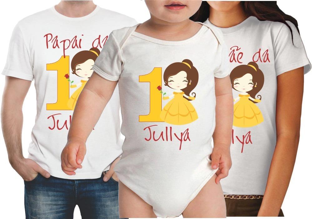 0b8b7a458 kit 3 camisetas personalizadas aniversario princesa bela. Carregando zoom.