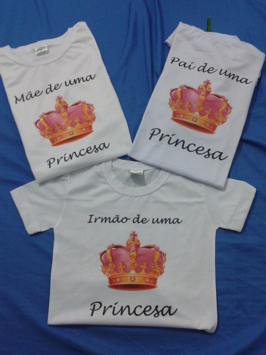 3c4c3e93e kit 3 camisetas - personalizadas família princesa pai mãe. Carregando zoom.
