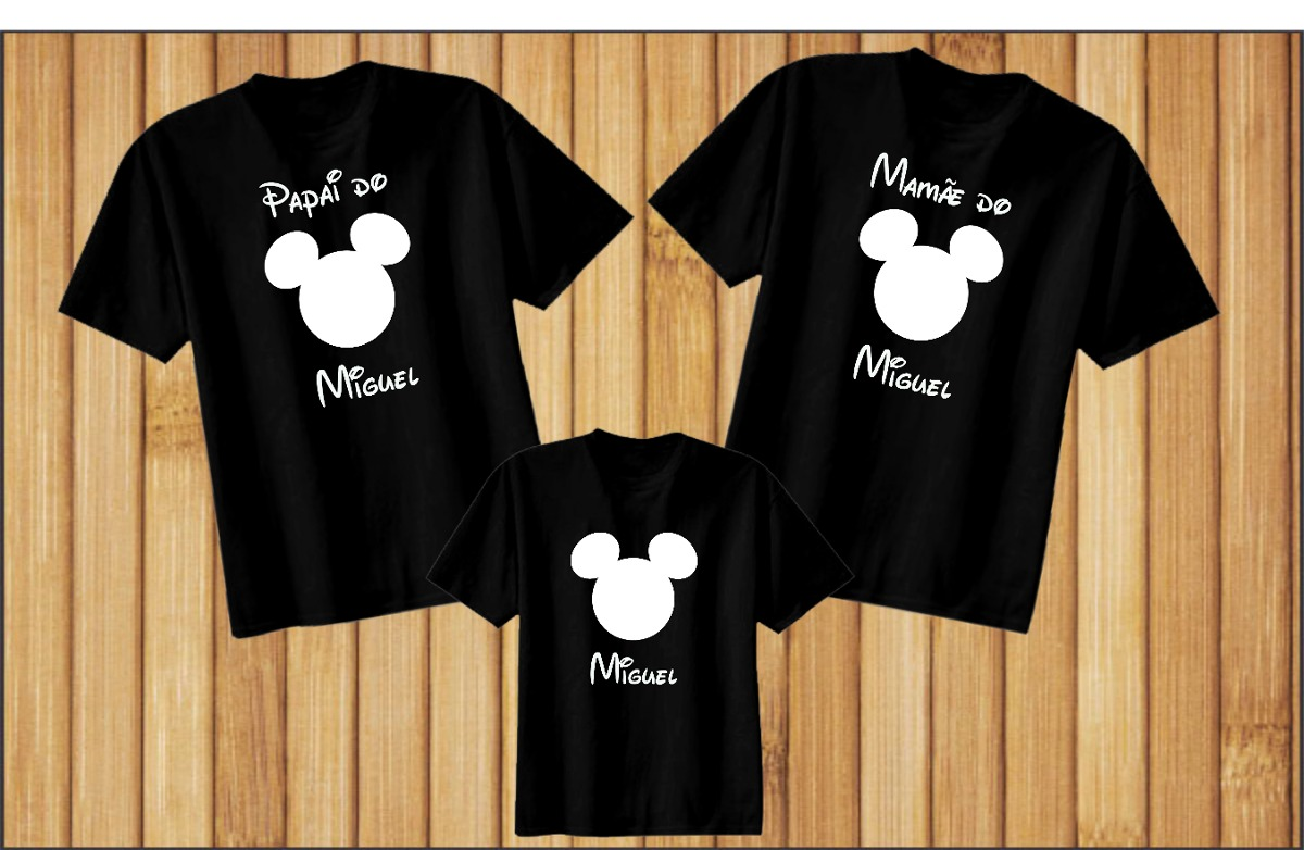 fe528c6e0f4c kit 3 camisetas personalizadas pretas família mickey branco. Carregando  zoom.