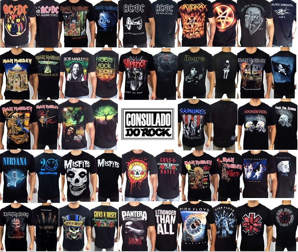 e4d8bc9ca8 kit 3 camisetas rock bandas consultar promoção consulado. Carregando zoom.