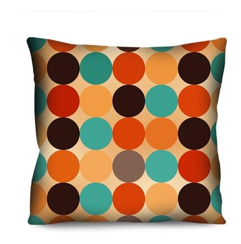 kit 3 capas de almofada marrom laranja geométrica 42cm r9