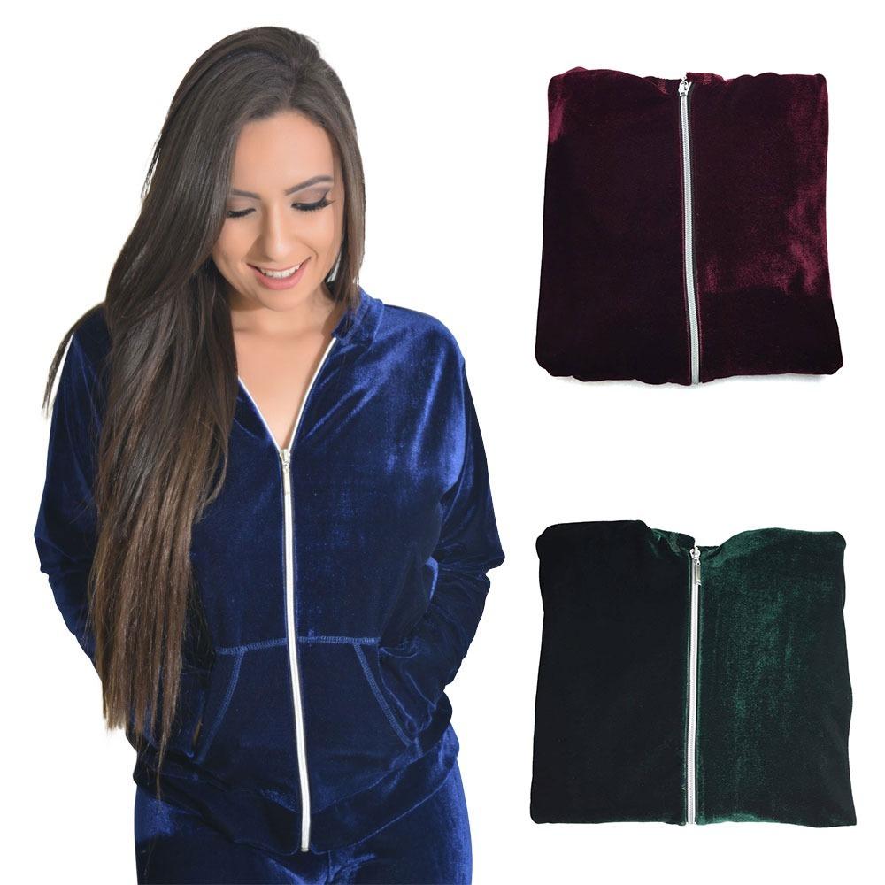 kit 3 casacos moda feminina jaqueta veludo molhado com capuz. Carregando  zoom. 95f232a04aa