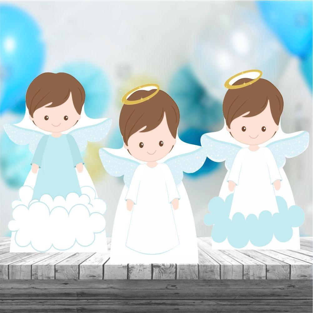 623b81fb610 kit 3 centro mesa totem display batizado menino anjo. Carregando zoom.
