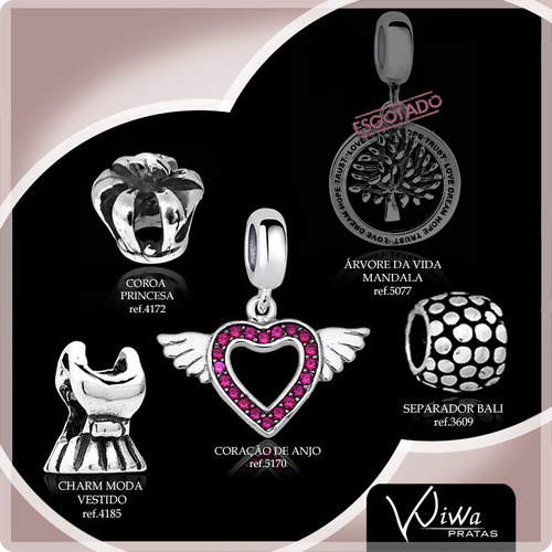 kit 3 charm joia em prata legítima 925 berloques para pulseira pandora e vivara life