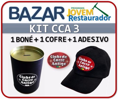 kit 3: clube do carro antigo do brasil (boné+cofre+adesivo)