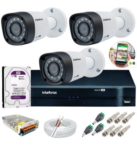 kit 3 câmeras intelbras vhd 3130 b dvr multi hd + hd1tb