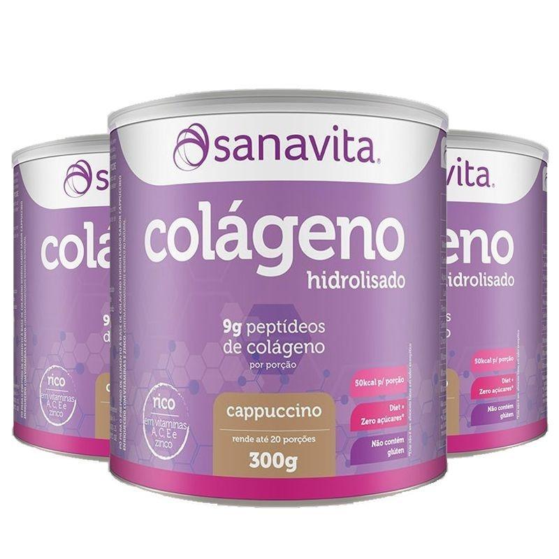 b17236c93 kit 3 colágeno hidrolisado em pó cappucino 300g - sanavita. Carregando zoom.