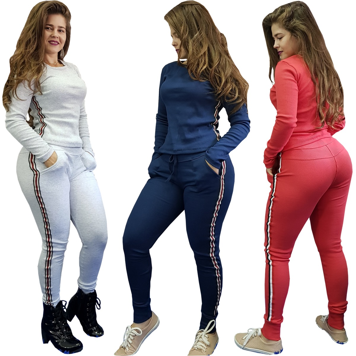 504eaafd107 kit 3 conjunto feminino tipo moletom calça e blusa oferta. Carregando zoom.