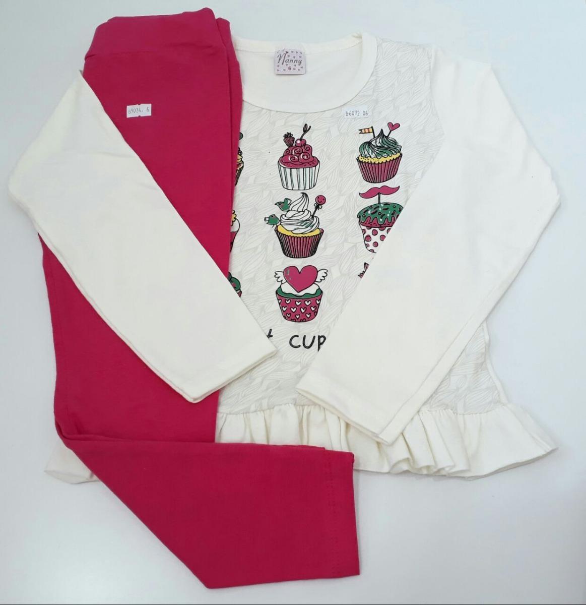 kit 3 conjuntos feminino infantil calça e blusa compre já. Carregando zoom. 16293c15277e2
