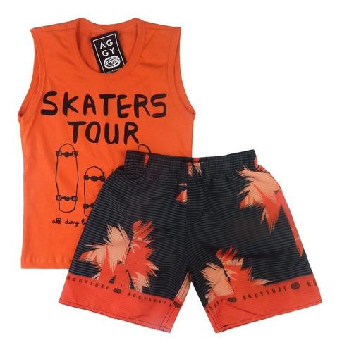kit 3 conjuntos infantil camiseta regata shorts sublimação