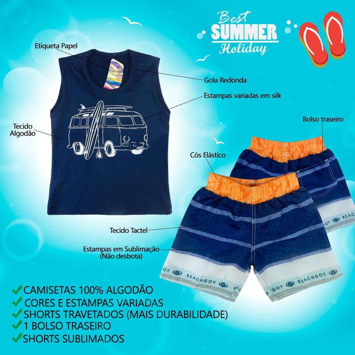 kit 3 conjuntos infantil camiseta regata shorts sublimação. Carregando zoom. 31fbd2148b8