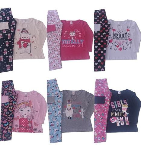 kit 3 conjuntos infantis menina meia estação roupa inverno