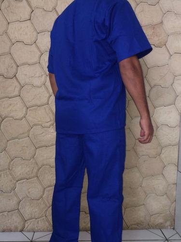 kit 3 conjuntos uniformes em brim pesado para pedreiro