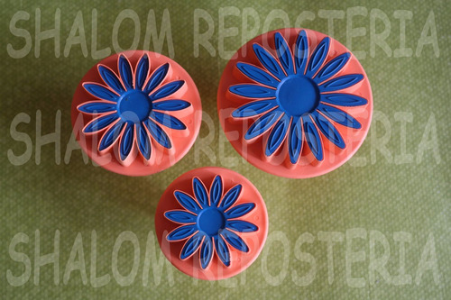 *kit 3 cortadores eyectores girasoles galletas fondant royal