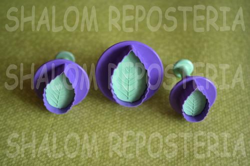 *kit 3 cortadores eyectores hojas galletas fondant royal*