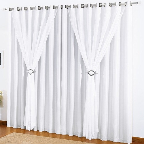 kit 3 cortinas 3 metros vison e voil clássica varão simples
