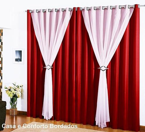 kit 3 cortinas 4 metros vison e voil clássica varão simples