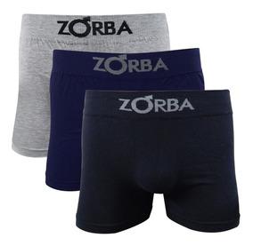 a26bf8b6973124 Kit 3 Cuecas Boxer Box Zorba Sem Costura Com Algodão 781