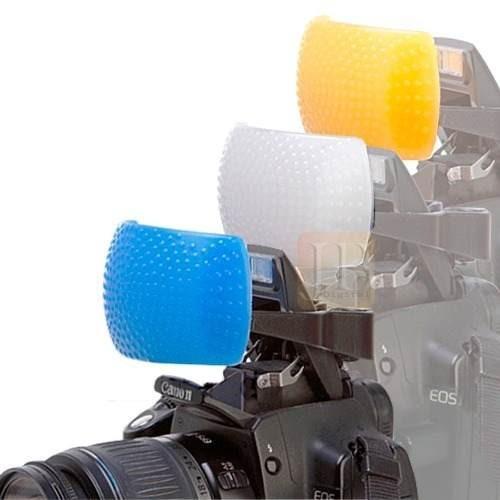 kit 3 difusores para flash pop-up - canon nikon fuji pentax