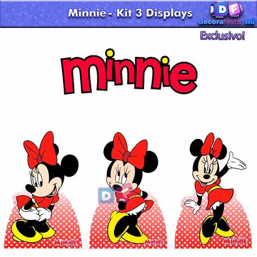 kit 3 display mdf centro mesa festa infantil minnie 4,80un*