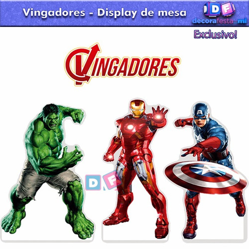 kit 3 display mdf vingadores centro mesa festa hulk 3mm
