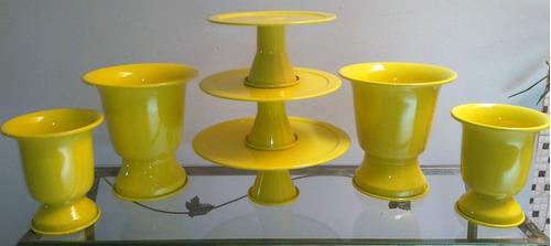 kit 3 doceiras + 4 vasos tulipa