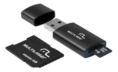 kit 3 em 1 microsd 8gb adaptador leitor usb multilaser mc058