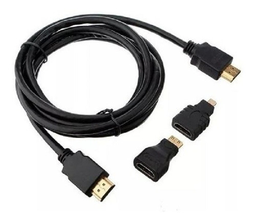 kit 3 en 1 cable hdmi 1.5m con adaptador  micro y mini hdmi