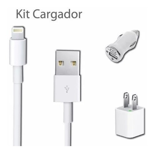 kit 3 en 1 iphone 5, 5c, 6, 6s cargador pared y carro cable
