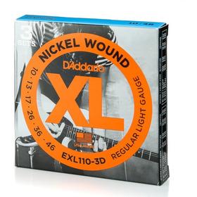 Kit 3 Encordoamentos Daddario Para Guitarra Exl110 3d 010