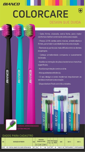 kit 3 escovas de dente colorcare -  cabo firme