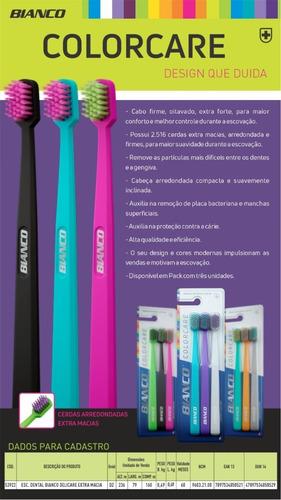 kit 3 escovas de dente colorcare -  cerdas extra macias