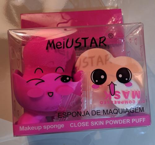 kit 3 esponja c/suporte para maquiagem pó e base - meiustar