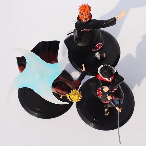 kit 3 figure action boneco naruto sasuke pain shippuden