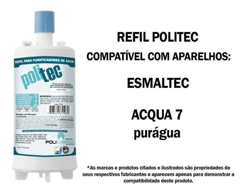 kit 3 filtro refil purificador agua esmaltec acqua 7 purágua