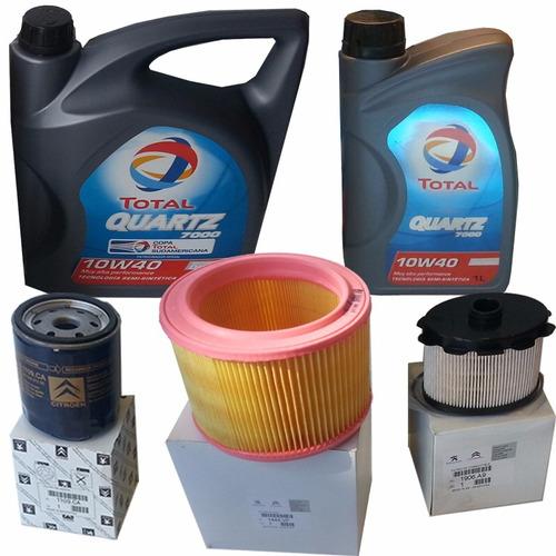kit 3 filtros + 5 lt aceite peugeot partner 1.9 diesel 00-08