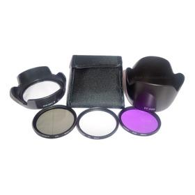Kit 3 Filtros 58mm + 2 Parasoles Para Lentes Canon Con Envío