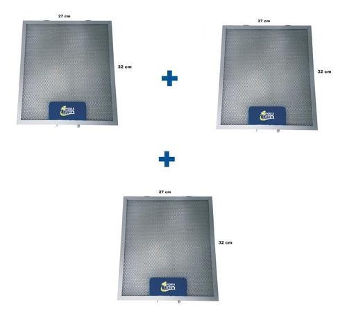 kit 3 filtros de aluminio coifa tramontina 32x27cm 94550002