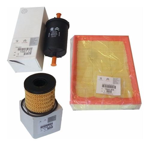 kit 3 filtros originales peugeot 206 1.6 16v nafta 05 al 09