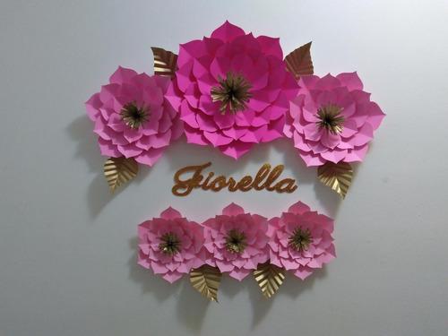 kit 3 flores de papel gigantes deco cumpleaños backdrop