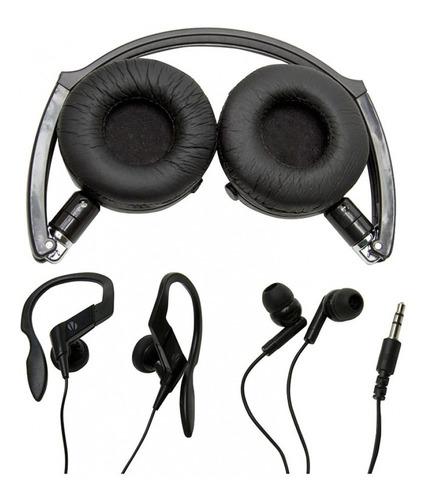 kit 3 fones headphone earphone vivitar v12134-raven