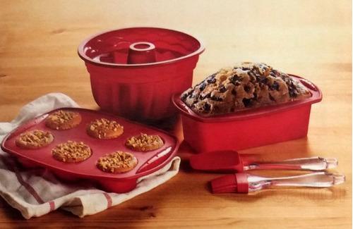 kit 3 formas para bolo torta de silicone com espátula pincel