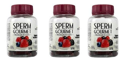 kit 3 frascos 180 caps sperm gourmet  altera o sabor do gozo