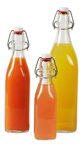 kit 3 garrafa vidro 1lt tampa hermética swing bormioli rocco