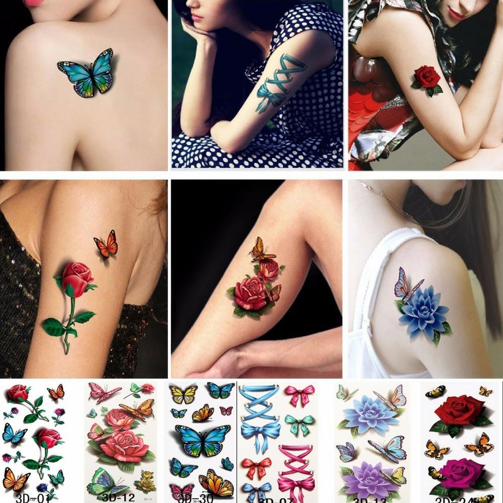 Rosas Tatuajes Faciles kit 3 hojas - 6 tatuajes temporales 3d rosas mariposas - $ 8.800 en