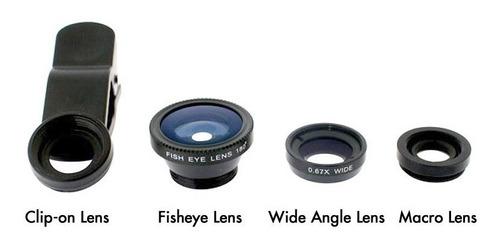 kit 3 lente universal fish eye macro wide iphone galaxy ipad