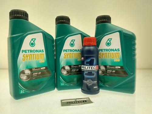 kit 3 litros óleo petronas 20w50 + 1 militec 1
