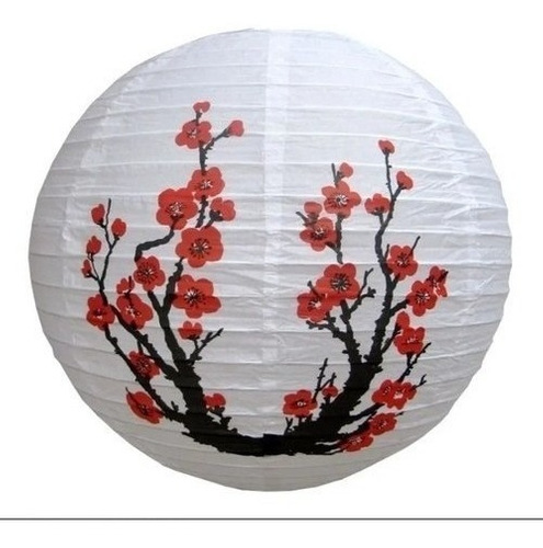 kit 3 luminária japonesa oriental cerejeira sakura 30cm