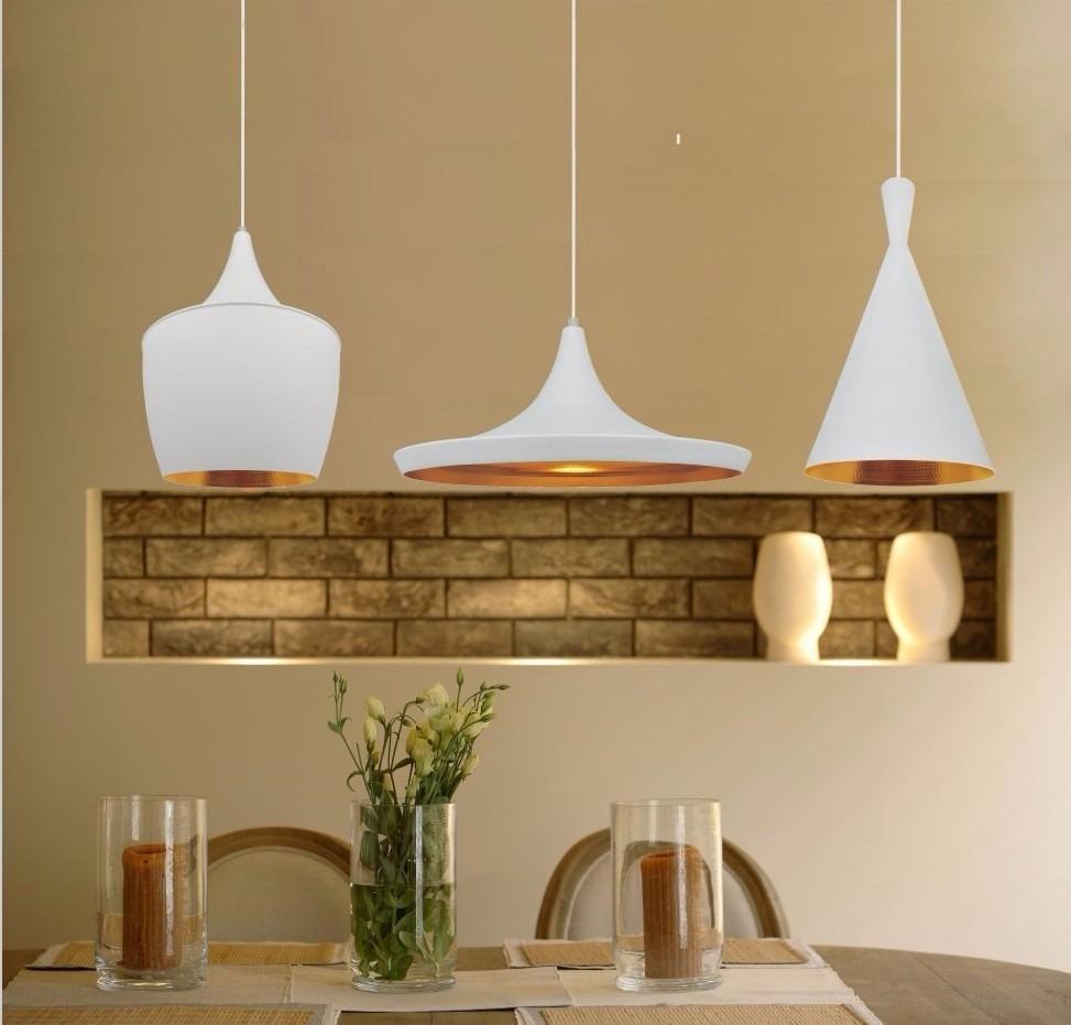 Kit 3 Luminaria Pendente Tom Dixon Branca Interior Dourado R$ 470,00 em Mercado Livre