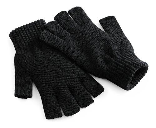 kit 3 luva feminina de lã par de luva sem dedos luva preta